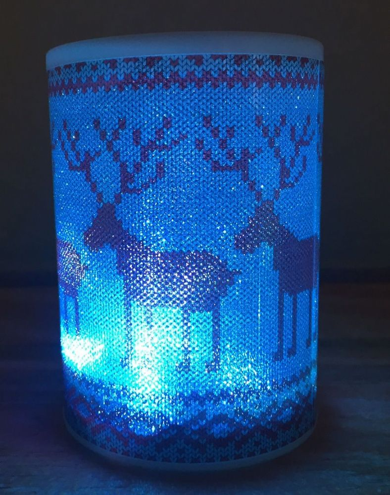 LED Battery Operated Colour Changing Christmas Candle ~ Red Reindeer (E)